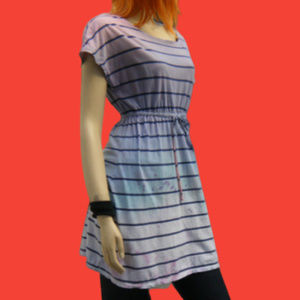 Upcycled Blue Stripe Drawstring Divided H&M Dress